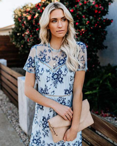 Something Blue Lace Midi Dress