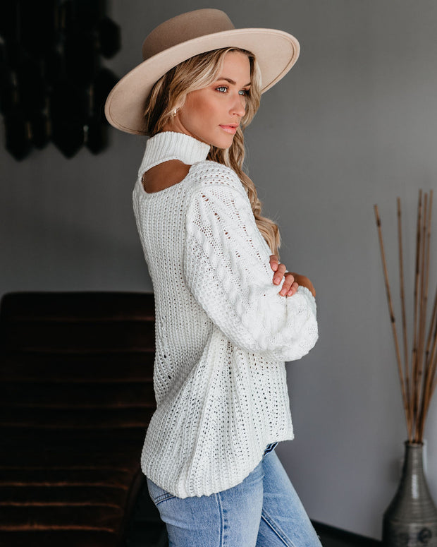 Soul Sister Cutout Cable Knit Sweater - Ivory