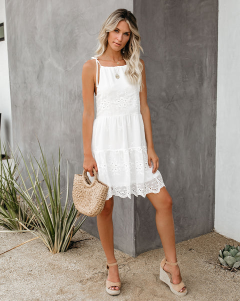 Southern Comfort Tiered Eyelet Dress - White