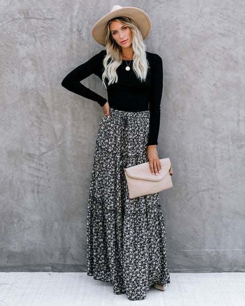Southern Living Tiered Floral Maxi Skirt