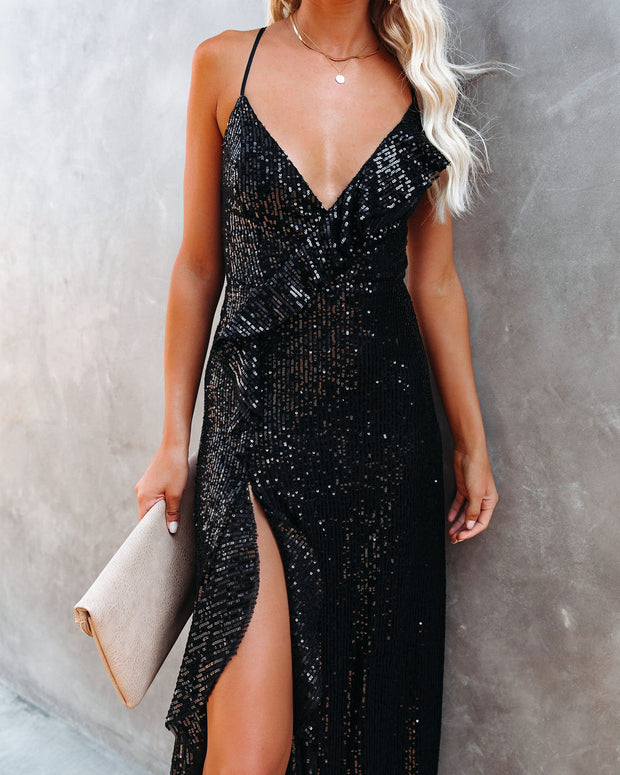 Sparkle In Her Eyes Sequin High Low Ruffle Maxi Dress - Black - FINAL SALE