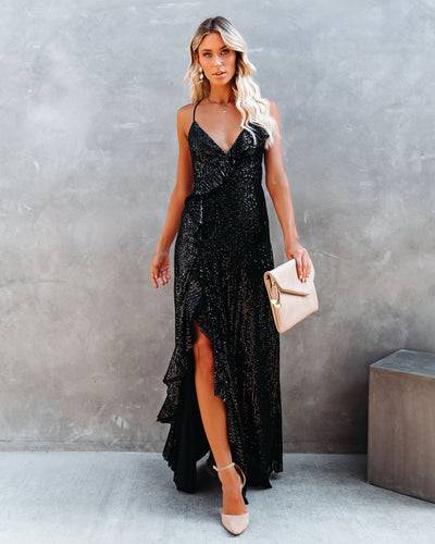 Sparkle In Her Eyes Sequin High Low Ruffle Maxi Dress - Black