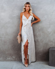 Sparkle In Her Eyes Sequin High Low Ruffle Maxi Dress - Nude - FINAL SALE view 12