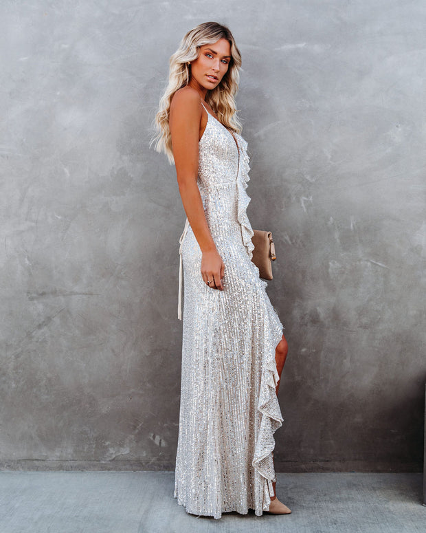 Sparkle In Her Eyes Sequin High Low Ruffle Maxi Dress - Nude - FINAL SALE view 10