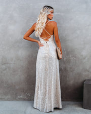 Sparkle In Her Eyes Sequin High Low Ruffle Maxi Dress - Nude - FINAL SALE view 11