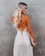 Sparkle In Her Eyes Sequin High Low Ruffle Maxi Dress - Nude - FINAL SALE view 2