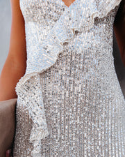Sparkle In Her Eyes Sequin High Low Ruffle Maxi Dress - Nude - FINAL SALE view 4