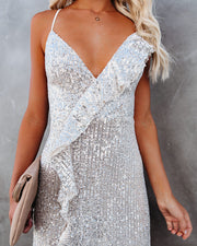 Sparkle In Her Eyes Sequin High Low Ruffle Maxi Dress - Nude - FINAL SALE view 7
