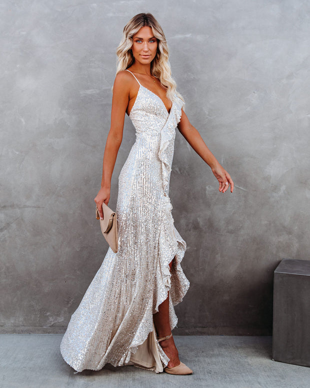 Sparkle In Her Eyes Sequin High Low Ruffle Maxi Dress - Nude - FINAL SALE view 8