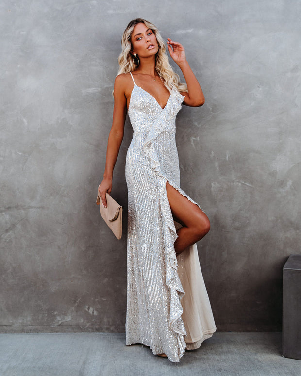 Sparkle In Her Eyes Sequin High Low Ruffle Maxi Dress - Nude - FINAL SALE view 9