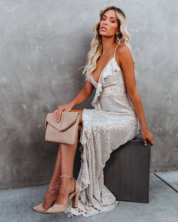 Sparkle In Her Eyes Sequin High Low Ruffle Maxi Dress - Nude - FINAL SALE view 6