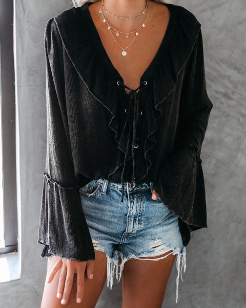 Sparrow Lace Up Ruffle Top - Black