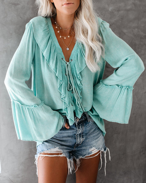 Sparrow Lace Up Ruffle Top - Sea Green