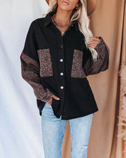 Spice It Up Contrast Leopard Denim Jacket