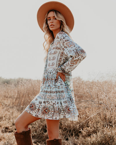 Praise Floral Metallic Button Down Dress