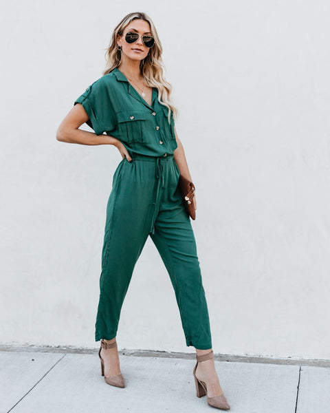 Spitting Image Drawstring Jumpsuit - Forest Green