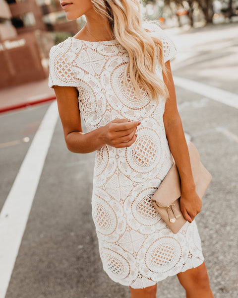 Spoken For Crochet Lace Dress - White