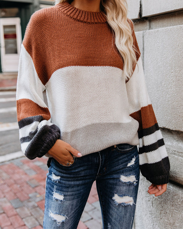 Spooky Season Colorblock Knit Sweater