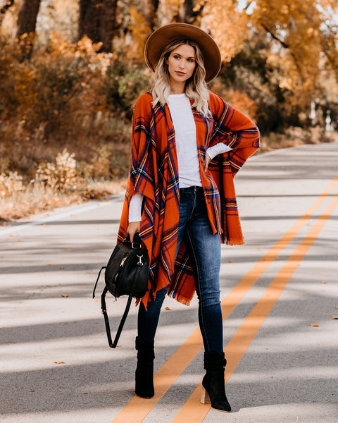 Spooky Season Plaid Poncho