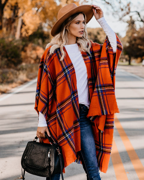 Spooky Season Plaid Poncho - FINAL SALE