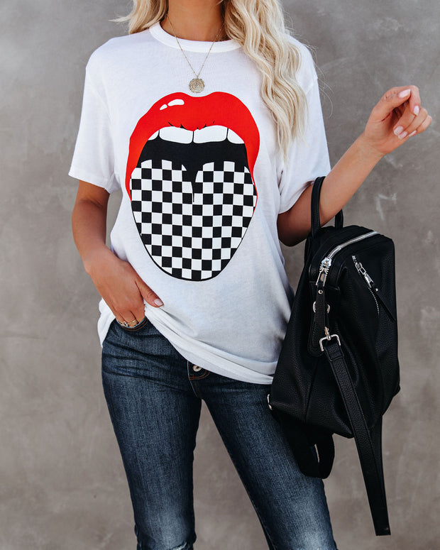 Spot Check Cotton Blend Red Lips Tee - FINAL SALE