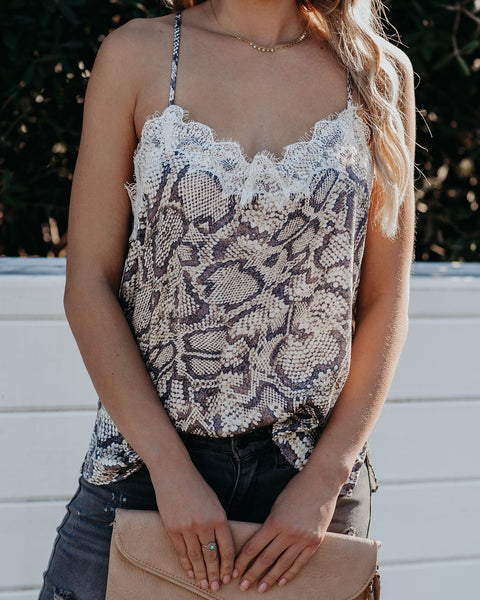 Spread Secrets Snake Print Lace Cami Tank - FINAL SALE