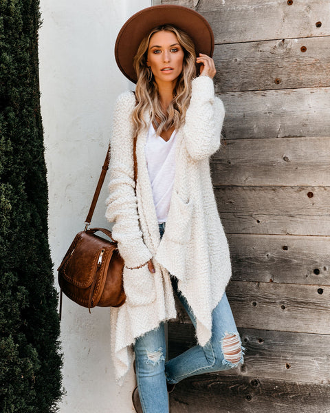 PREORDER - Spread Your Wings Pocketed Cardigan - Cream
