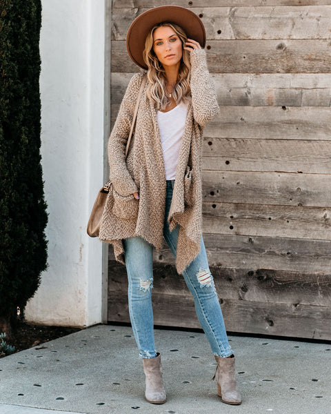 Spread Your Wings Pocketed Cardigan - Mocha
