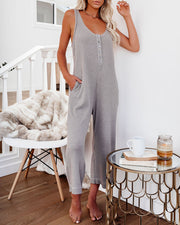 Spring Ahead, Fall Back Pocketed Thermal Jumpsuit - Portabella view 5
