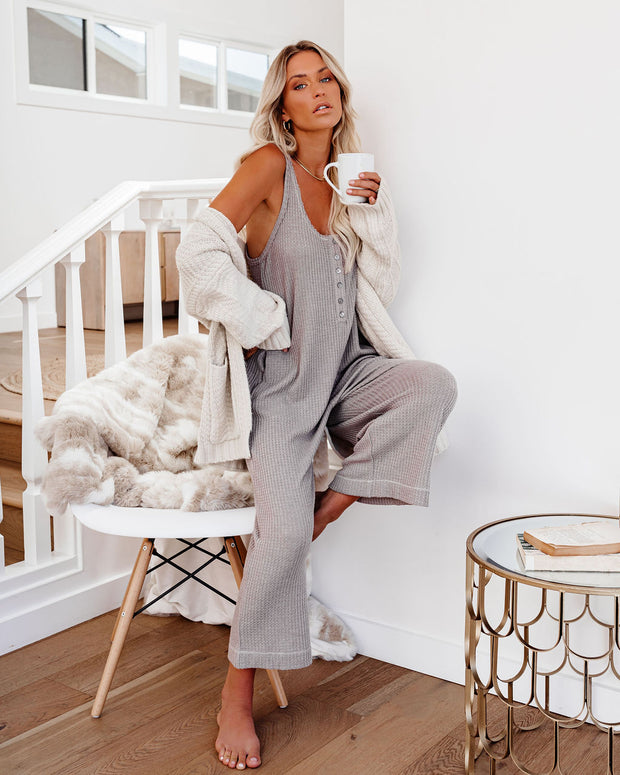 Spring Ahead, Fall Back Pocketed Thermal Jumpsuit - Portabella view 6