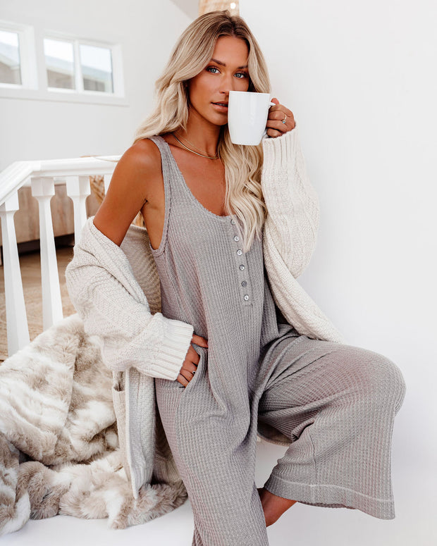 Spring Ahead, Fall Back Pocketed Thermal Jumpsuit - Portabella view 1