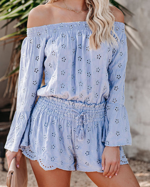 Spring Break Smocked Off The Shoulder Eyelet Romper - FLASH SALE
