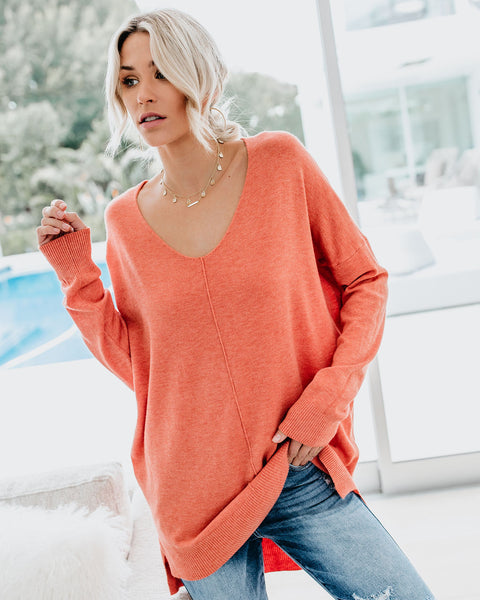 Spring Breeze Light Knit Sweater - Rose Coral