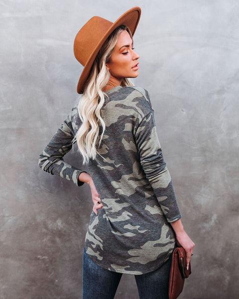 PREORDER - Stand For Something Camo Knit Top