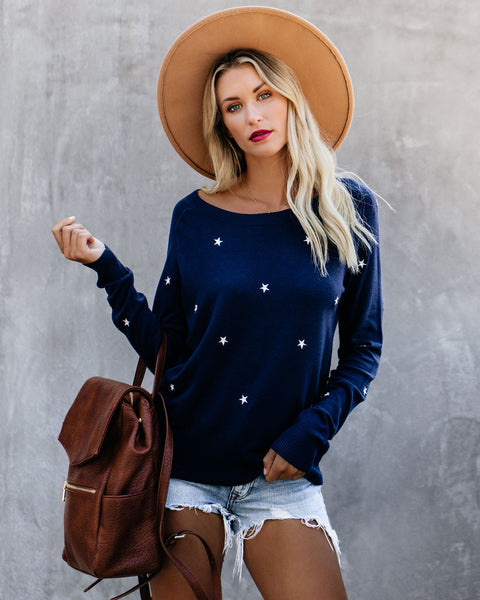 Star-Crossed Lovers Embroidered Sweater - Navy