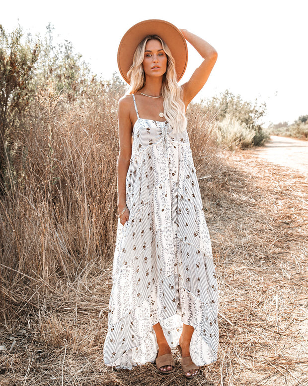 Stardust Pocketed High Low Patchwork Maxi Dress