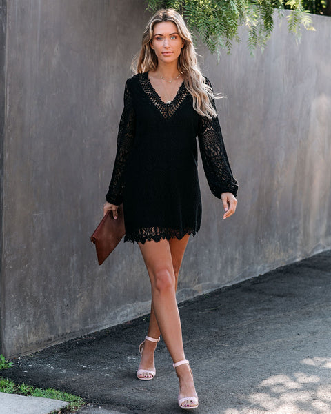 Stassie Cotton + Linen Crochet Lace Tunic - Black - FINAL SALE