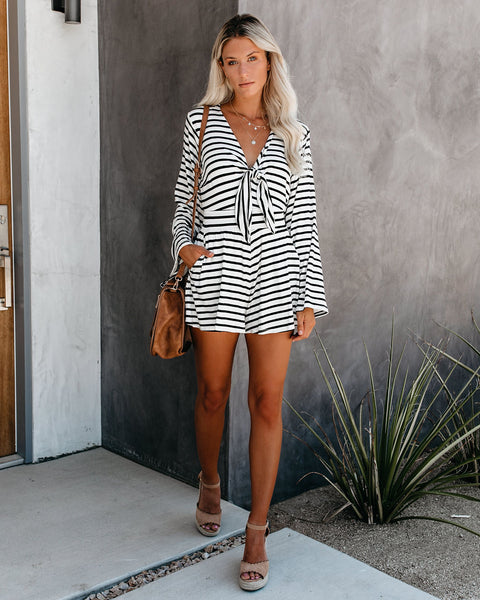 State Of Mind Striped Pocketed Tie Romper