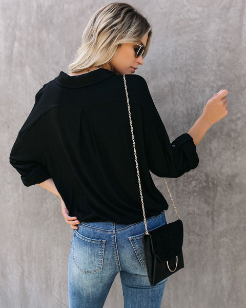 Stay True Collared Drape Blouse - Black - FINAL SALE