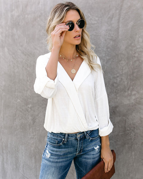 Stay True Collared Drape Blouse - Ivory - FINAL SALE