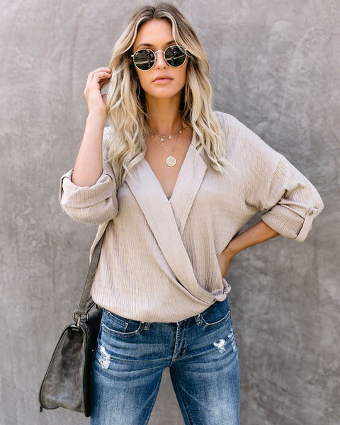 Stay True Collared Drape Blouse - Taupe - FINAL SALE