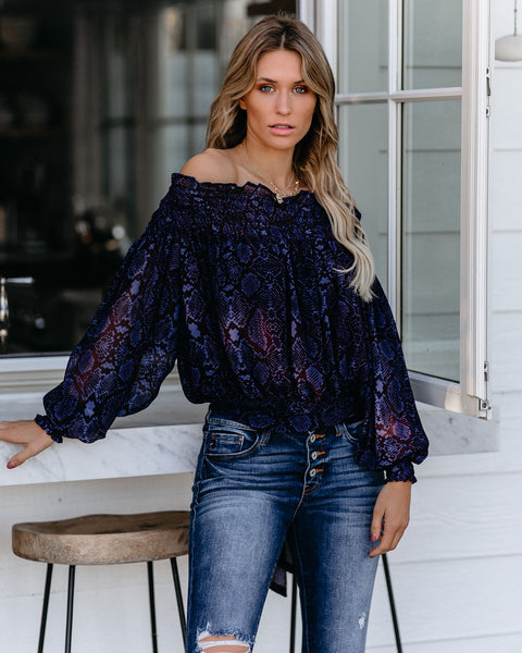 Steady As She Goes Smocked Off The Shoulder Top- FINAL SALE