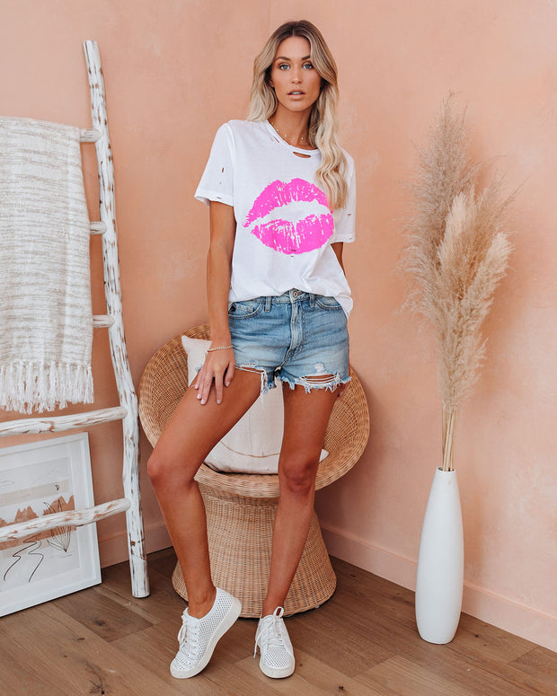 Steal A Kiss Distressed Cotton Tee