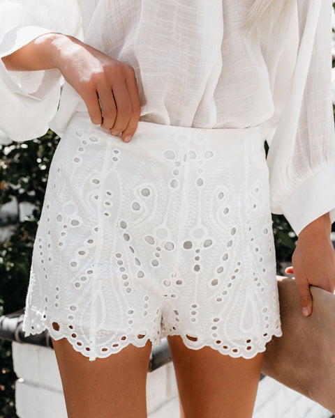 Steal My Sunshine Cotton Eyelet Shorts