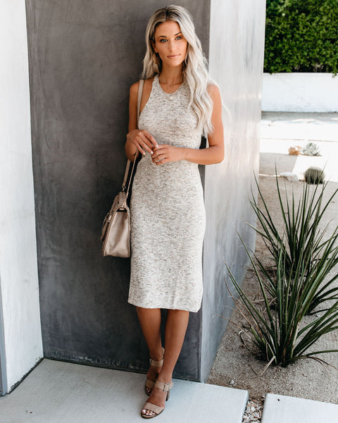 Steel Cut Speckled Knit Midi Dress