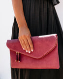 Stella Crossbody Envelope Zip Clutch - Dark Mauve