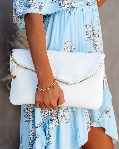 Stella Crossbody Envelope Zip Clutch - White