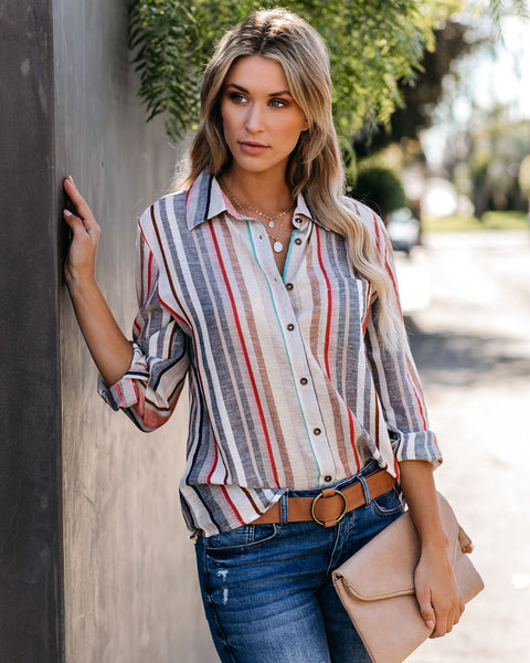 Step Into Spring Cotton Striped Button Down Top
