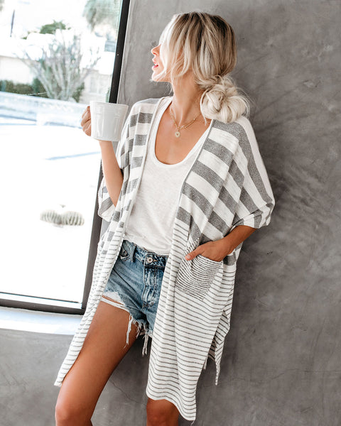 PREORDER - Stepping Stones Striped Pocketed Cardigan