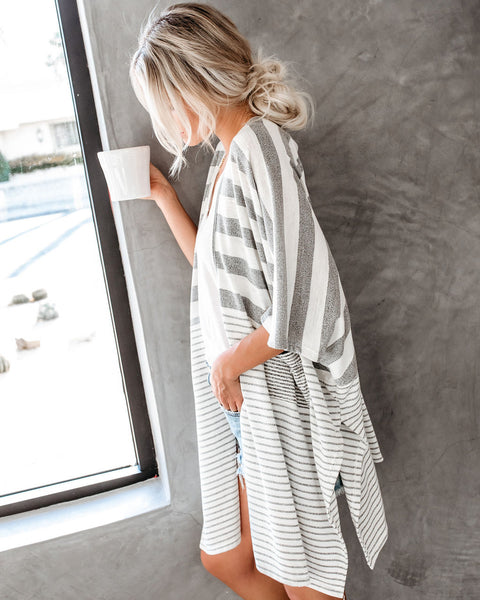 Stepping Stones Striped Pocketed Cardigan